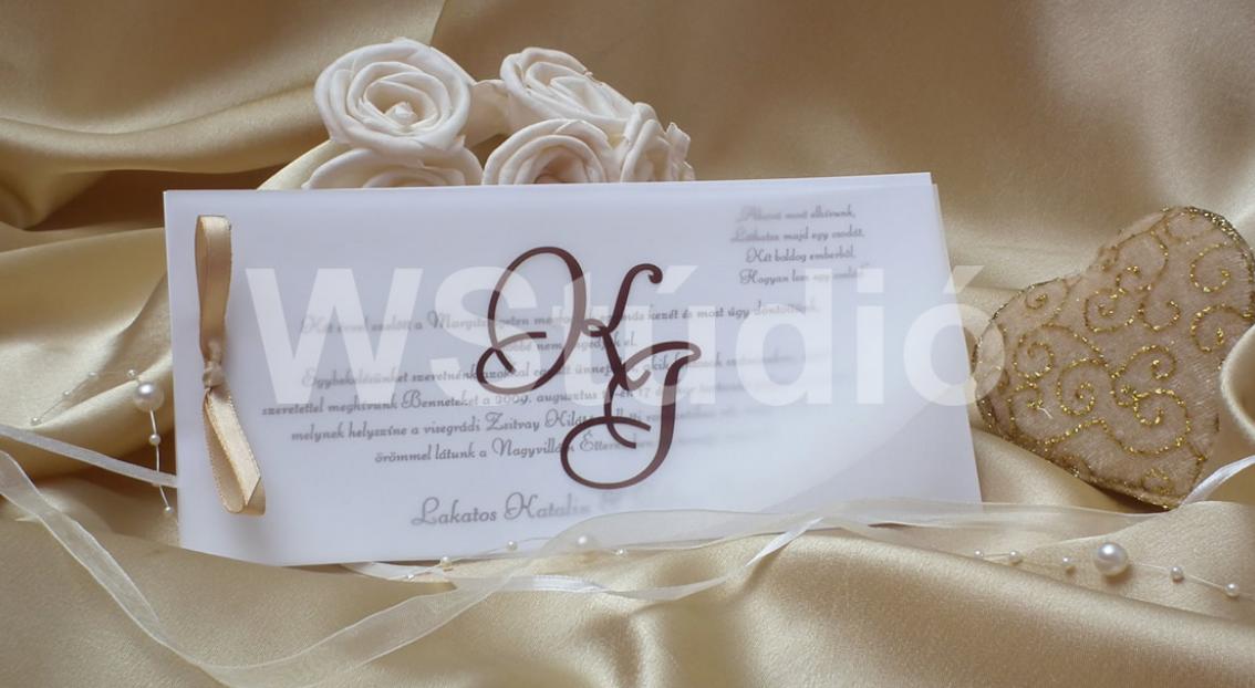 monogramos esküvői meghívó